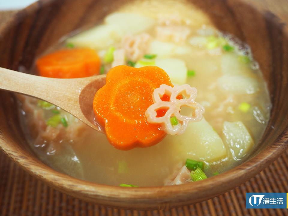 住家風味!簡易薯仔蘿蔔清湯「櫻花通粉」