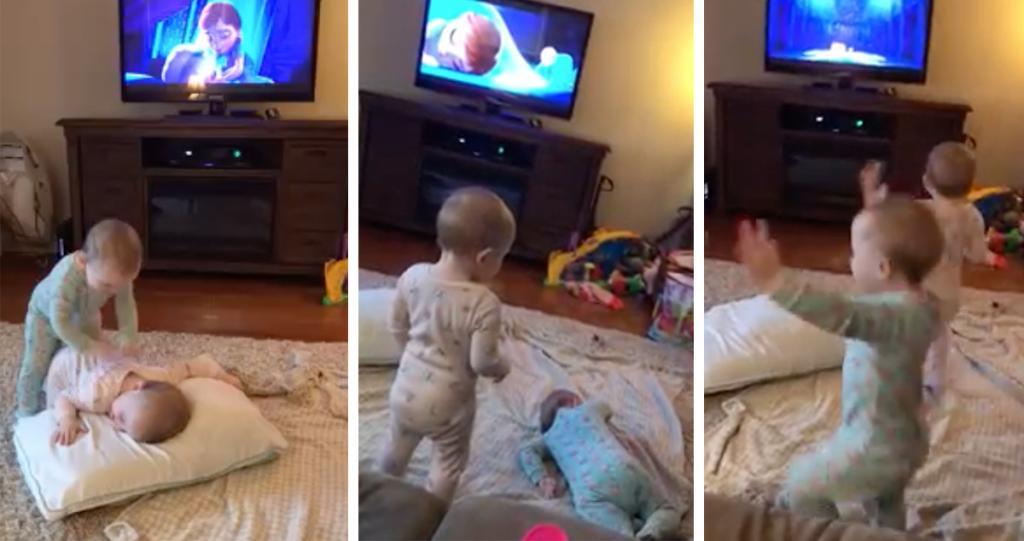 可愛BB版《Frozen》2歲孖女重演Anna受傷一幕冧爆網民
