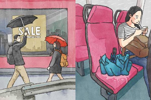 8幅「擔遮禮儀」插畫諷刺港人自私唔識擔遮 網民勁讚有共鳴