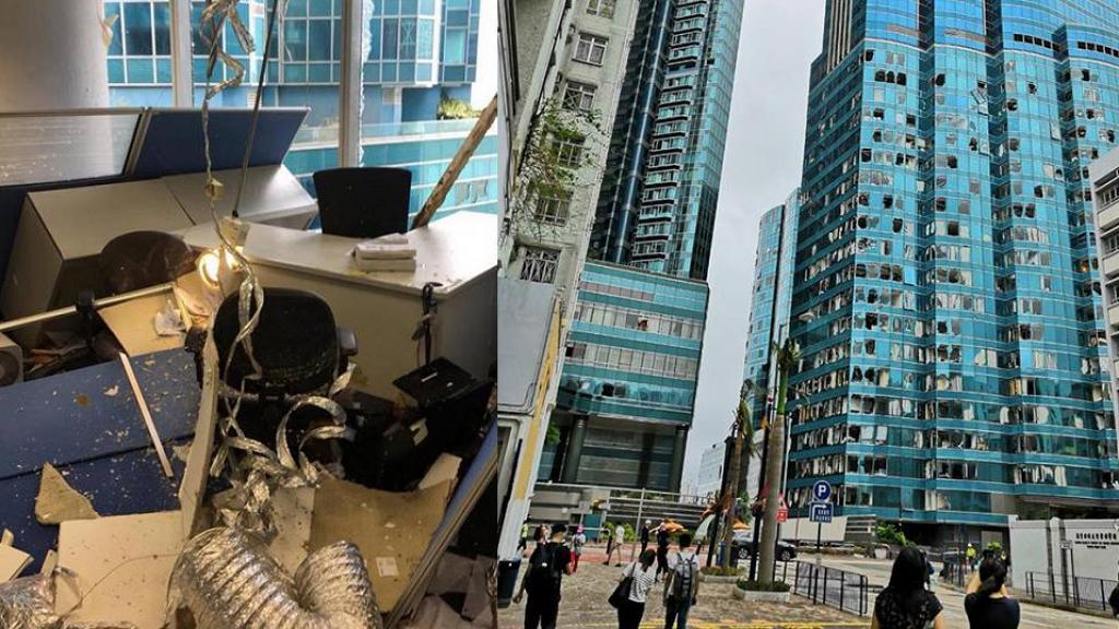 【颱風山竹】紅磡海濱廣場辦公室損毀極嚴重 網民:返到工未必做到嘢