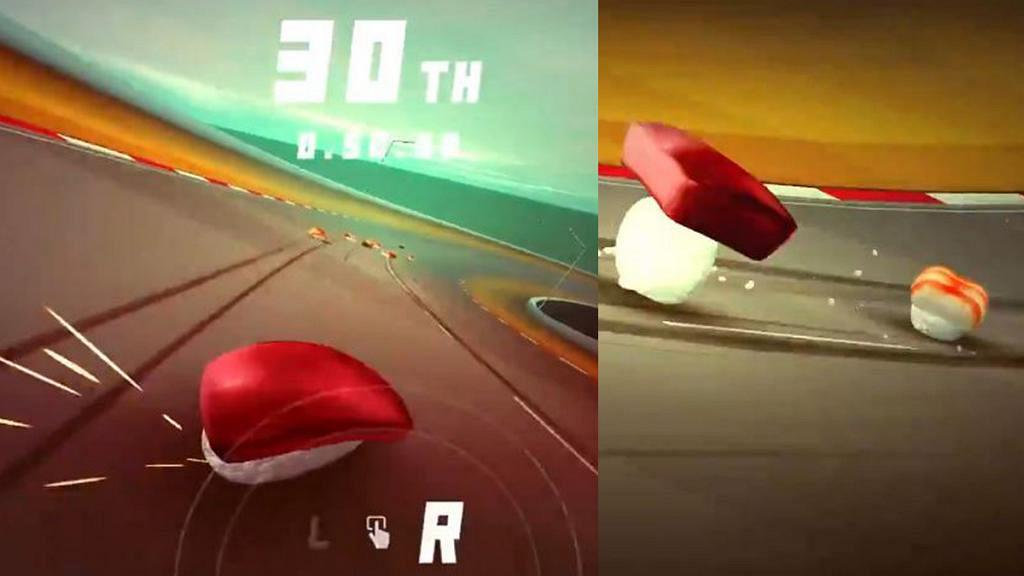 日本搞笑壽司賽車Game《Running Sushi》 跑到魚生飛起跌飯粒!