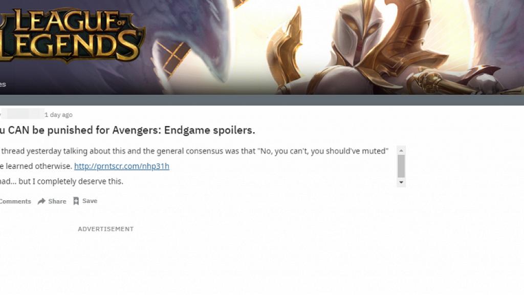 【復仇者聯盟4】League of Legends玩家在遊戲中劇透 官方封鎖帳號3日以示懲戒