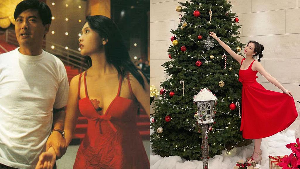 沈月聖誕紅裙配紅唇復刻媽咪經典造型 小試性感盡得邱淑貞真傳堪稱最美星二代