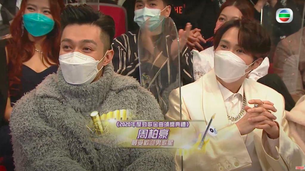 【勁歌金曲頒獎典禮2020】勁歌史上首次TVB誕雙人歌王!周柏豪、胡鴻鈞同時奪最受歡迎男歌星