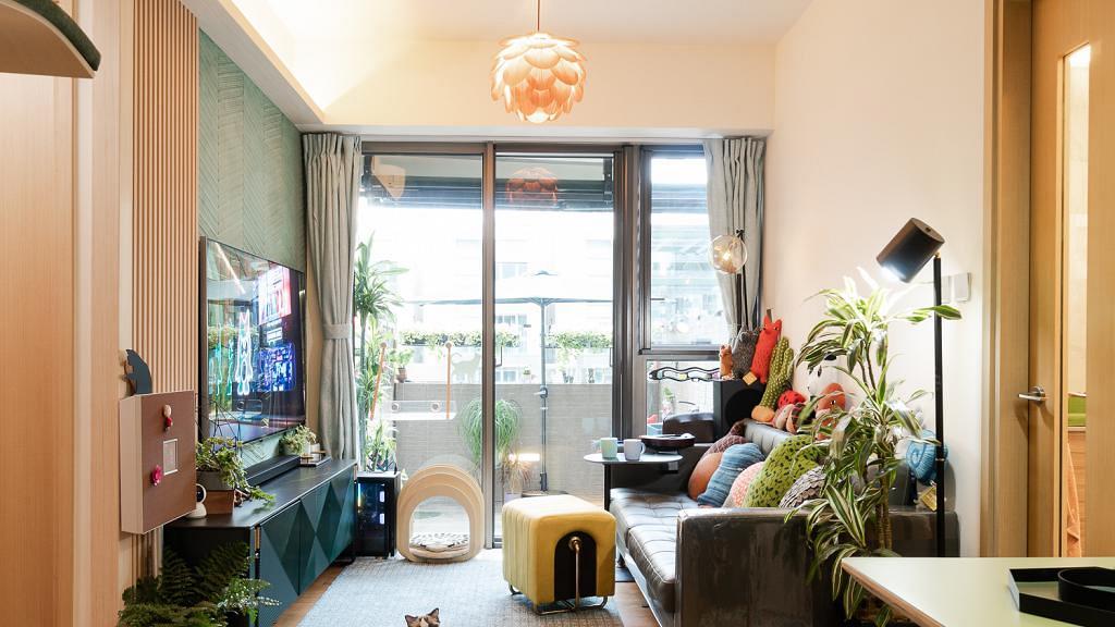 夫婦包辦設計2房1廳加花園10.7萬輕裝修 特別開空中貓路為4隻貓貓擁有舒適花園