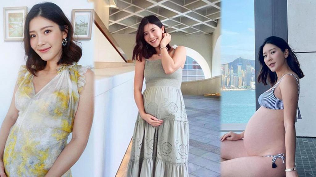 余香凝懷孕八個月曬泳衣照 巨肚側面大得驚人 惹網民猜測疑似陀雙胞胎