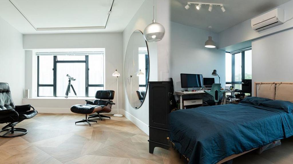 80後夫婦裝修千呎屋企只花47萬!極高樓底增加空間感打造舒適工作空間