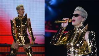Katy Perry首次香港開騷 黃金甲造型氣勢登場