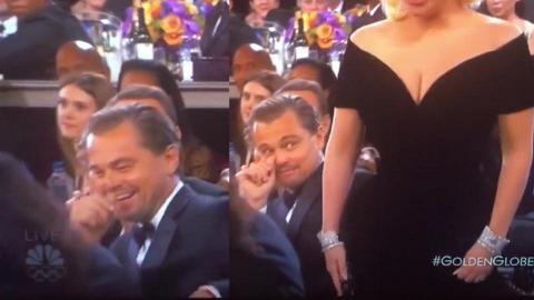 金球獎Lady Gaga行過身邊,李安納度突變臉 全球猜想到底他在想什麼?