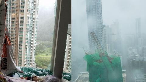【颱風山竹】颶風級數吹襲威力強勁 寫字樓窗戶玻璃全爆地盤棚架倒塌