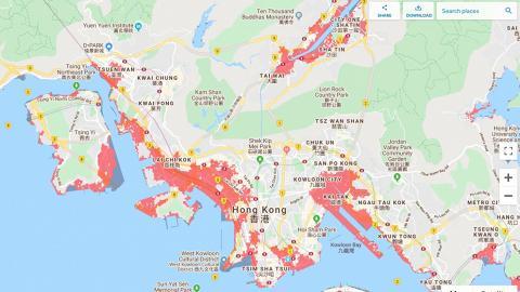 美研究預測2050年香港受海平面上升影響 多個地方被海水淹沒新界西北成重災區