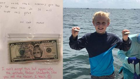 美國9歲童不忍老師人工太低與付出不成正比 將生日利是錢全數送給對方