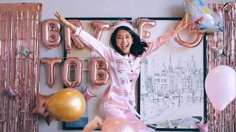 姜麗文婚前搞告別單身派對 吳業坤穿粉紅睡衣嬌俏亂入被笑是「最佳伴娘」