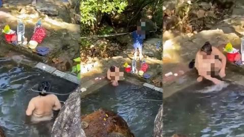 大媽水泉澳村後山儲水池沖涼 無視眾人目光全裸示人 與老翁交談悠然自得