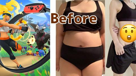 【Switch遊戲】日本肥妹玩Ring Fit +Fitness Boxing成功減肥!堅持玩1年勁減30kg練出馬甲線