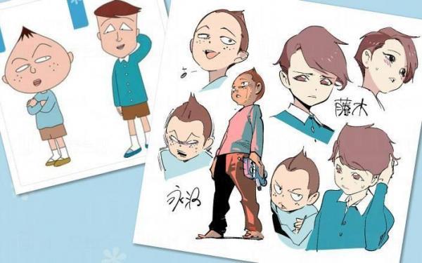 藤木同學三角形眼不變,卻變成憂鬱美男子。(圖片來源: POPQN pixiv)