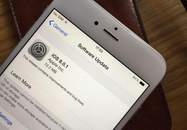 旨在修復蘋果早前的缺陷的iOS 8.0.1……(圖:cdn.cultofmac)