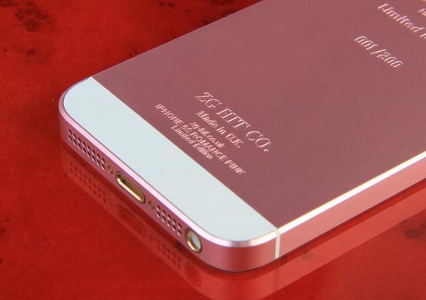 粉紅色版iPhone 6並非由蘋果原廠出品,只是英國珠寶商ZG HIT改裝外殼而成。 圖:ZG HIT