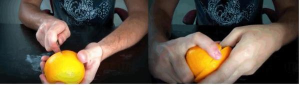 4. 用刀圍圈切橙
