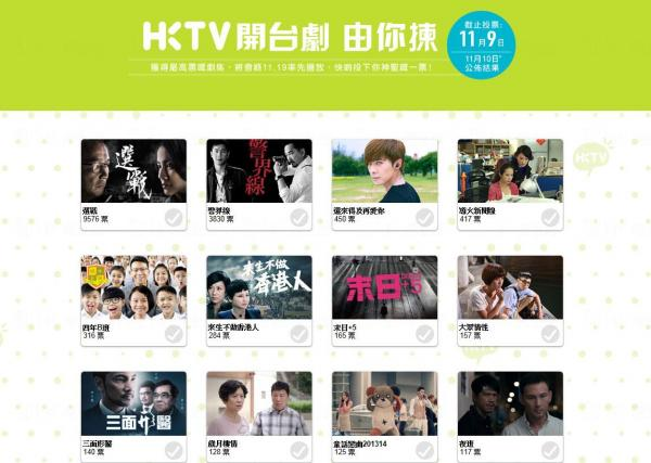 11月19日將正式開台的香港電視現在網上舉行開台劇投票