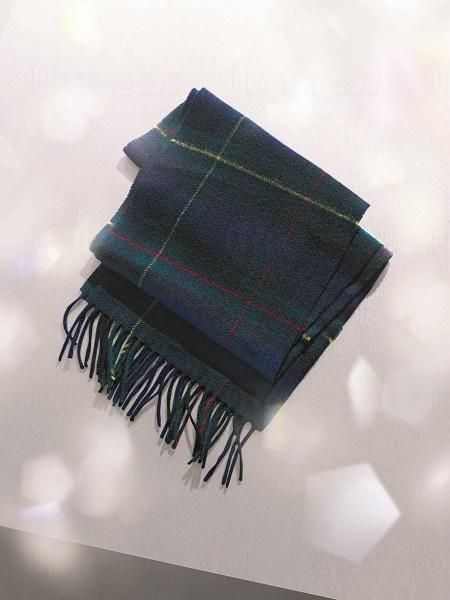 藍綠色格仔純羊毛頸巾 $459 (MARKS & SPENCER)
