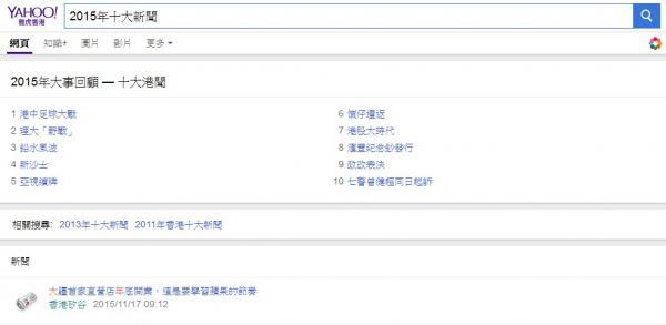 雅虎香港統計總結過去一年港人最為關注的本地新聞及網絡話題