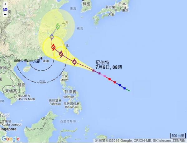 熱帶氣旋「尼伯特」最新路徑資訊(7月6日)