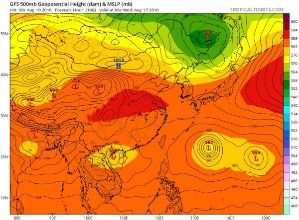 美國氣象局的GFS電腦預測圖