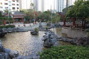 公園流水淙淙,被樹林包圍,簡直是鬧市中一片綠洲。(康寧道公園二期)(陸嘉鈴攝)