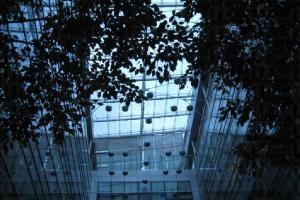 俯瞰樓頂是空中花園。