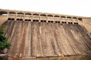 從下而上仰望大潭篤水塘水壩百呎巨牆。