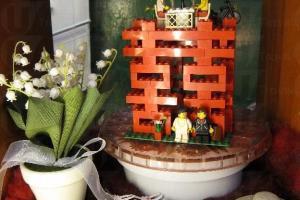 Vincent 親自拼砌的「囍」lego 模型,既懷舊又有創意。