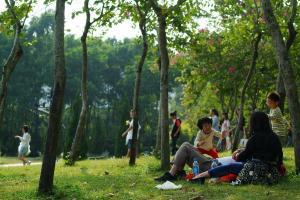 不少人在周末到大埔海濱公園享天倫之樂。