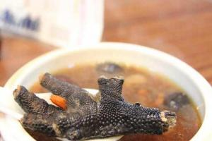 阿膠烏雞湯的湯料比例幾乎一比一。