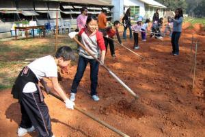 家長與小朋友一起參與田間的工作,是很好的親子活動。