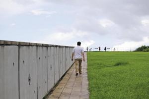 慢慢走上草地斜坡,逐步走近大自然。