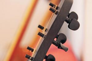 有別於一般結他以齒輪拉緊弦線,新設計保留類似小提琴靠拉力固定弦綫的傳統結構。