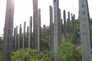 大型的木柱群安放在山坡上,氣勢磅礡