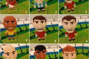 微積木達人Christopher砌出9位世界級球星:1-9為法卡奧、美斯、基斯坦奴.朗拿度、朗牙度、米高奧雲、史提芬•謝拉特、施丹、尼馬、碧咸