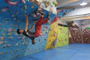 有攀石經驗者如 Danny,可挑戰需要倒吊懸掛的石場