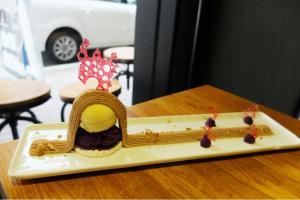 「栗香紫薯山」以栗子味雪糕、紫薯蓉和香脆蛋白餅作組合,味道濃而不膩。$65