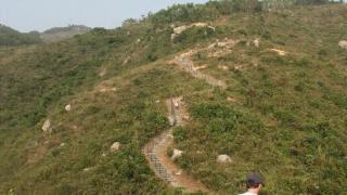 婉然曲節的愉梅小徑,上山石級雖然頗累,不過可以欣賞背後的青蔥山景及環海景致,再辛苦都值得!
