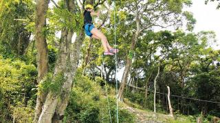 利用爬樹繩和踩腳繩慢慢攀爬,不經不覺就上升幾米的高度了。