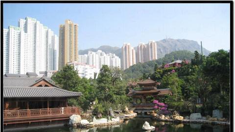 有水有山,有中國亭園之借景的意味。