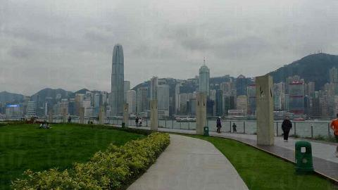 在海濱長廊可眺望彼岸維港景色。