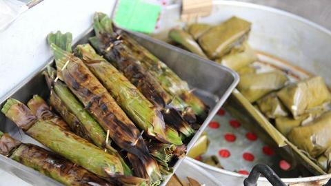 以竹葉包著的芉頭,是泰國的特色食品。