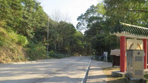 於郊野公園站落車後,走回頭方向前往郊野公園入口。