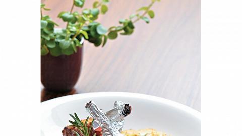 保雲酥羊鞍配有機薄荷汁及有機時蔬晚餐,另配有機田園沙律、有機食材餐湯、有機香草包及餐飲。