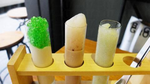 「Test tube」以試管盛載青瓜wasabi沙冰、mojito味啫喱、伯爵奶凍配特濃咖啡泡沫味mousse。$65