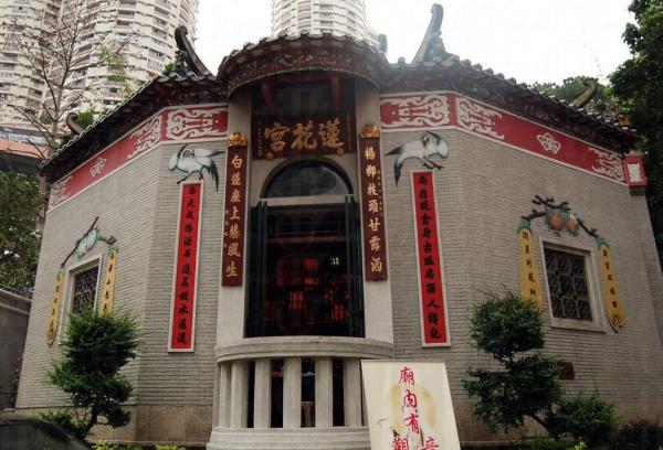 蓮花宮外形呈八角形,香港罕見。